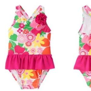 Gymboree Swim Pink ruffled floral 4T Swimsuit